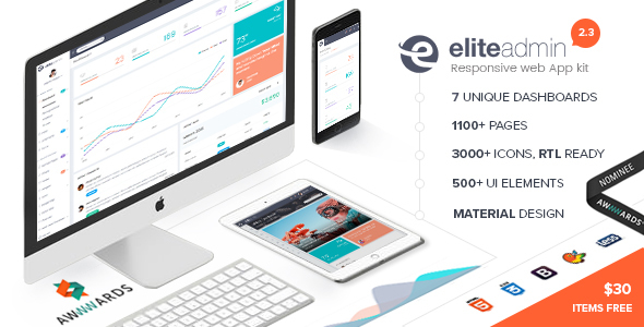 Elite Admin - The Ultimate Dashboard Web App Kit + Material Design