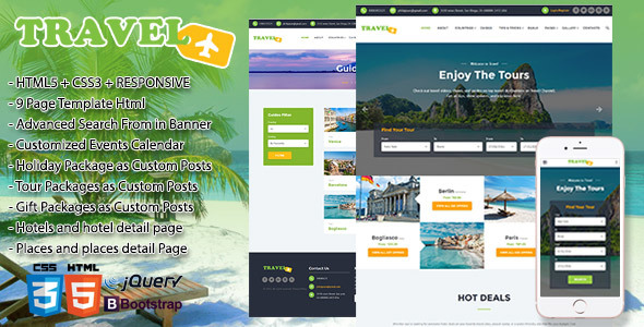 Travel, Exploration, Booking,  Creative Travel Agency Theme HTML5