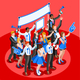 Election Infographic Cheering Crowd Vector Isometric People - GraphicRiver Item for Sale