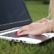 Businesswoman Hands Typing on a Laptop Outdoor - VideoHive Item for Sale