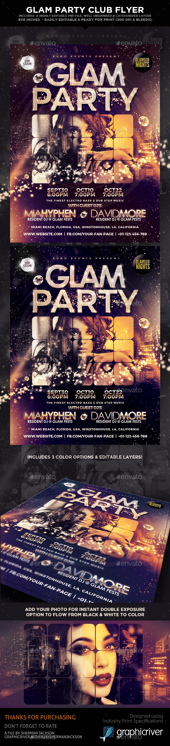 Glam Party Club Flyer - Clubs & Parties Events
