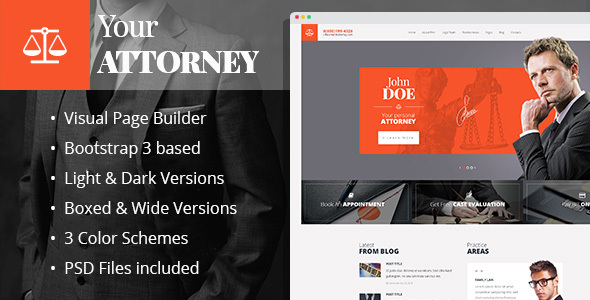 Attorneys – law firm/private lawyer HTML template with Builder