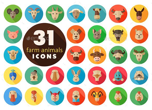 Farm animals flat icons set. Vector head - Animals Characters