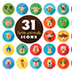 Farm animals flat icons set. Vector head - GraphicRiver Item for Sale