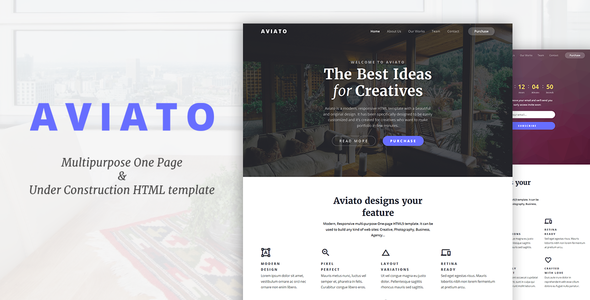 Aviato – Multipurpose One Page & Coming Soon HTML template