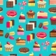 Seamless Pattern With Sweet Dessert Objects - GraphicRiver Item for Sale