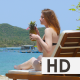 Woman Drinks Cocktail on the Beach - VideoHive Item for Sale