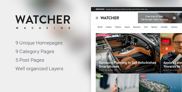 Watcher – News Magazine HTML Template