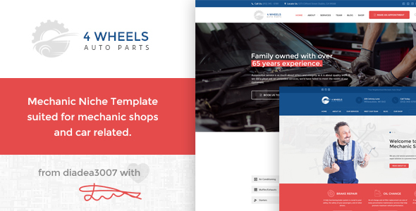 4 Wheels – Mechanic Shop PSD Template
