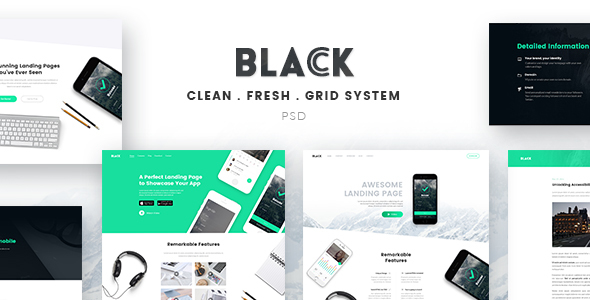 Black - Landing Page PSD Template - Miscellaneous PSD Templates