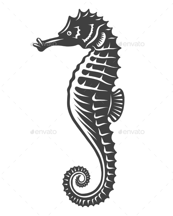 Monochrome Sea Horse Icon - Decorative Symbols Decorative