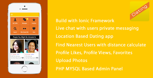 DATINGAPP is a Full Application - ionic PHP Admin Panel - CodeCanyon Item for Sale