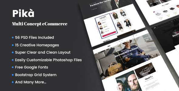 Pika - A Premium Multi Concept eCommerce PSD Template - Retail PSD Templates