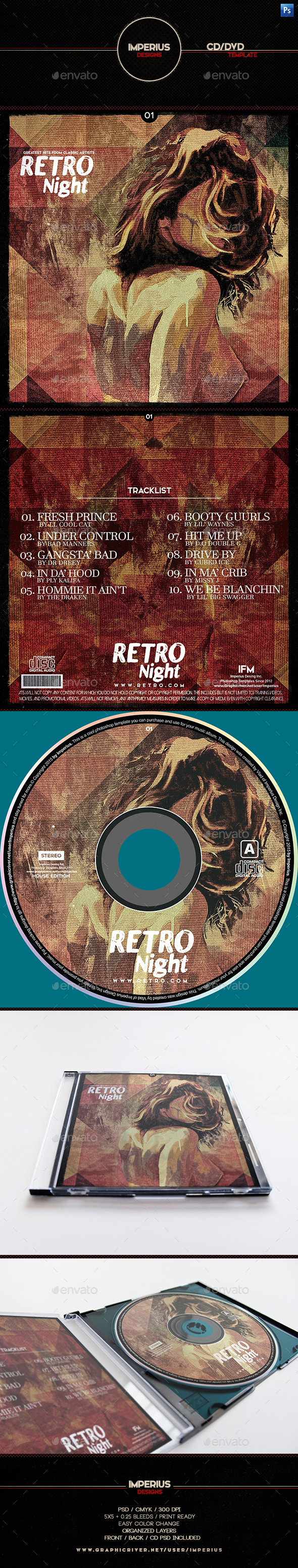 Retro Night V1 CD/DVD Cover - CD & DVD Artwork Print Templates