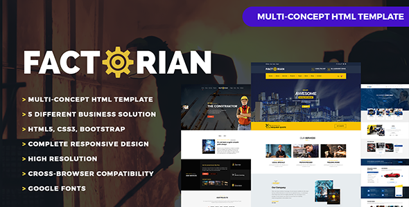 Factorian – Factory, Construction,  Auto Repair, Agency & Transport Theme