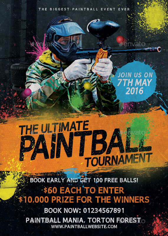 paintball tournament flyer template by mattm3