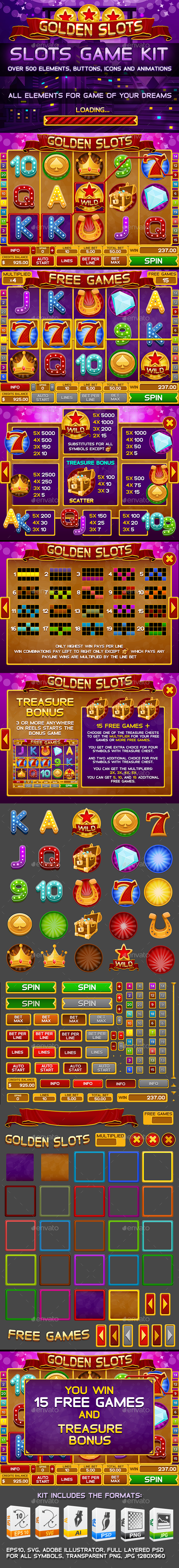 Golden Slots Game Kit - Game Kits Game Assets