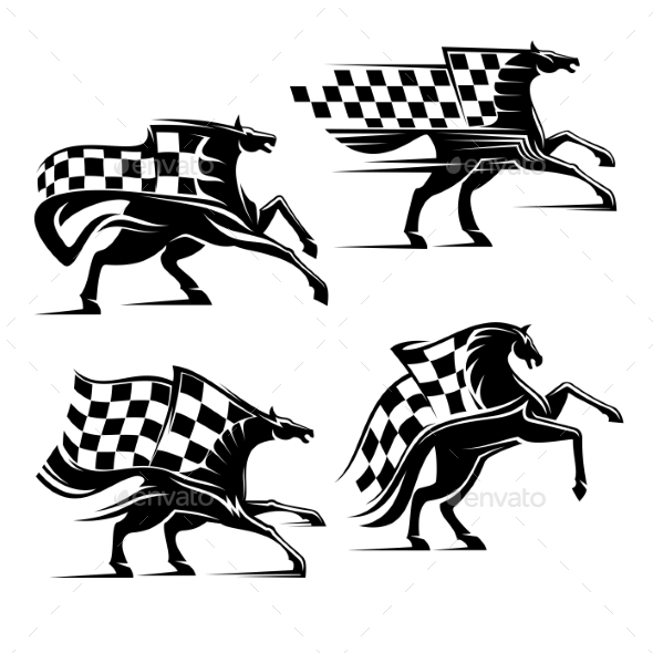 Horse with Checkered Flag Racing Sport Icons