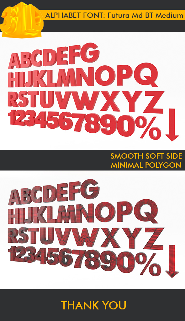 ALPHABET Font Futura Md BT Medium - 3DOcean Item for Sale