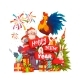 Happy New Year 2017 Banner With Santa Claus And - GraphicRiver Item for Sale
