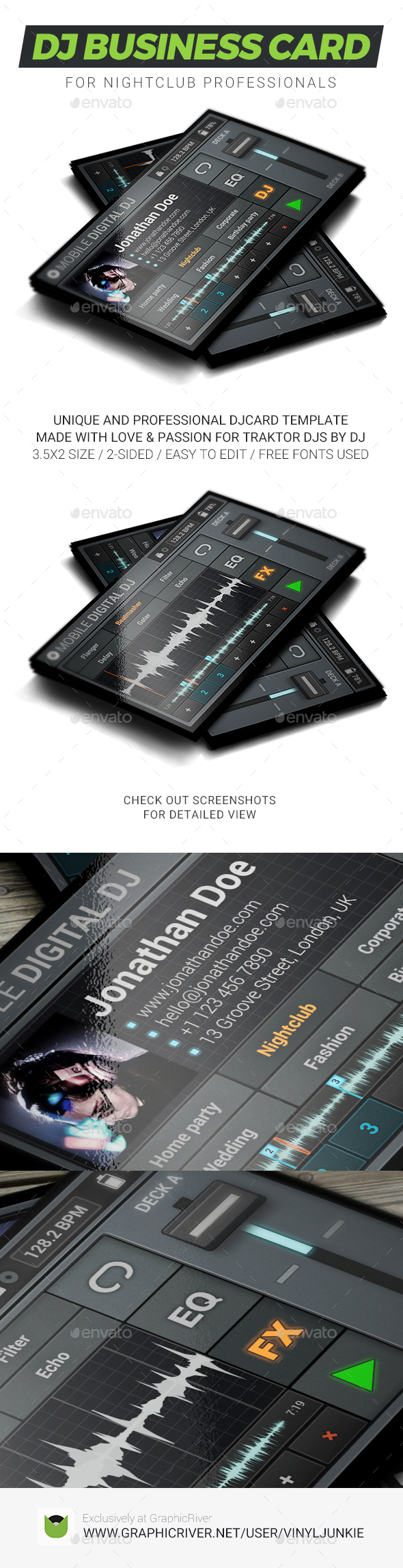 Mobile Digital DJ Business Card - Industry Specific Business Cards