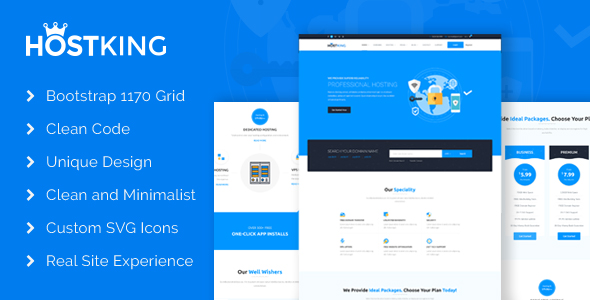 HostKing - Web Hosting Domain Technology PSD Template