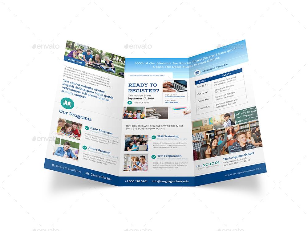 language school trifold brochure by mike pantone