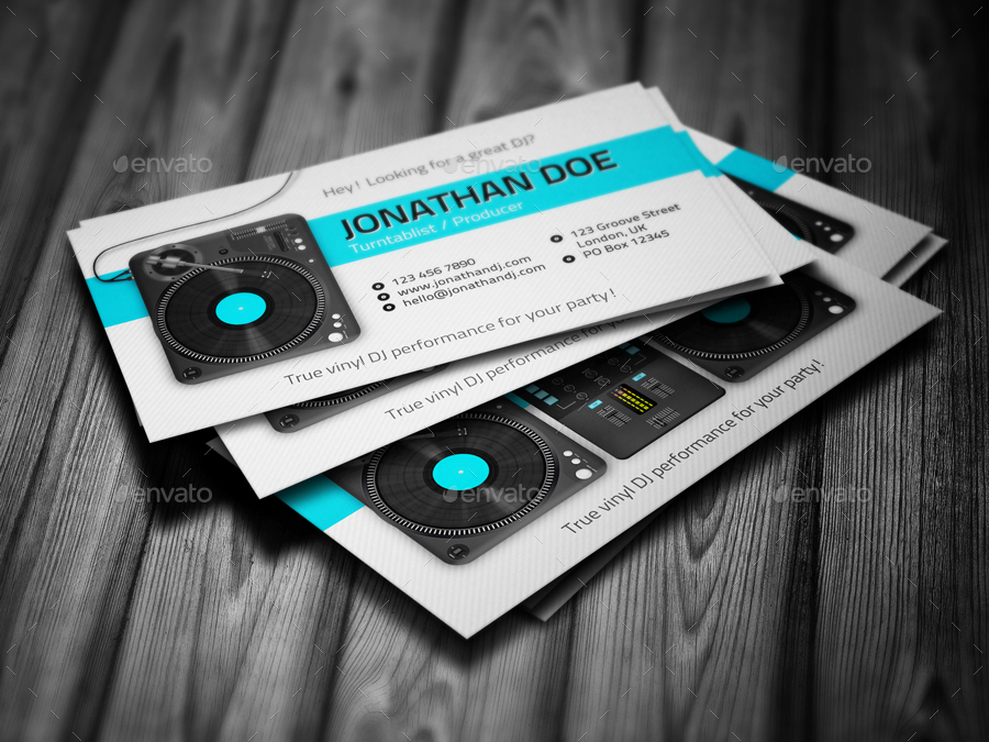 Turntablist DJ Business Card By Vinyljunkie GraphicRiver - Dj business card template