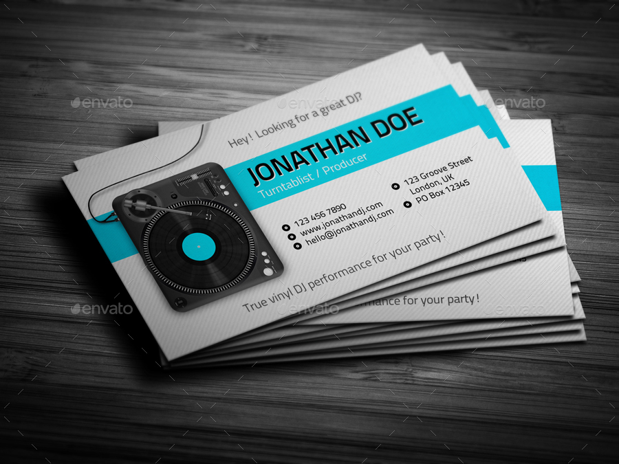 Turntablist dj business card by vinyljunkie graphicriver turntablist dj business card reheart Choice Image