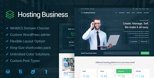 Hosting Business  – Technology, Software & Hosting WordPress Theme