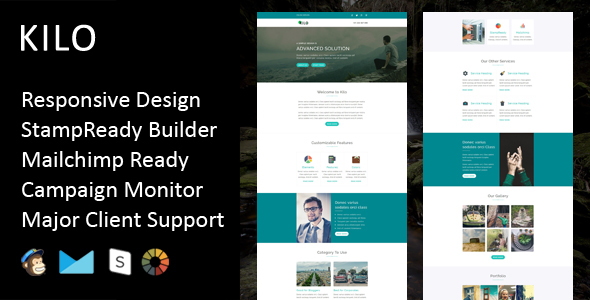 Kilo - Multipurpose Responsive Email Template + Stampready Builder - Email Templates Marketing