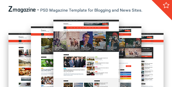 Zmagazine - PSD Magazine Template for Blogging and News Sites.