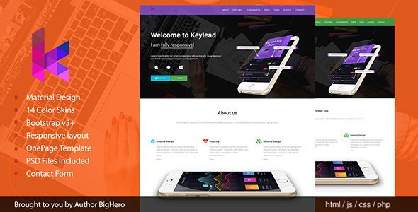 Keylead - Material Design App Landing Template - Apps Technology