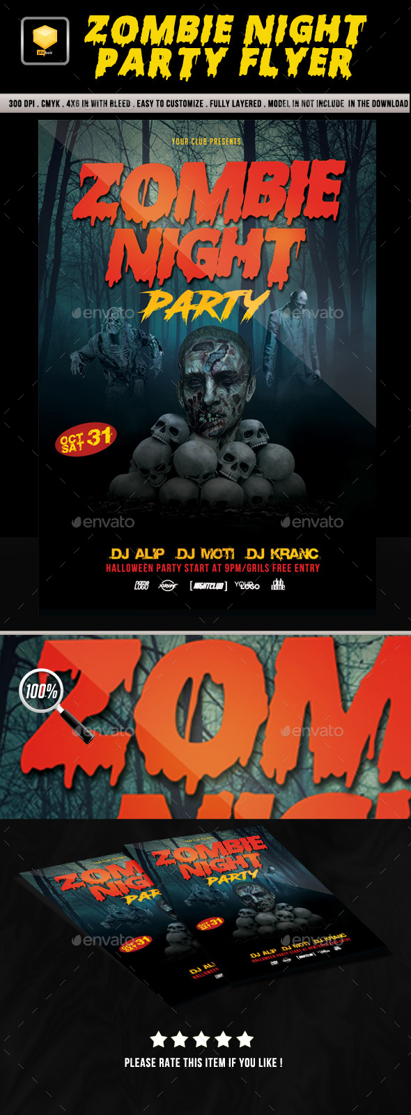 Zombie Night Party Flyer - Clubs & Parties Events