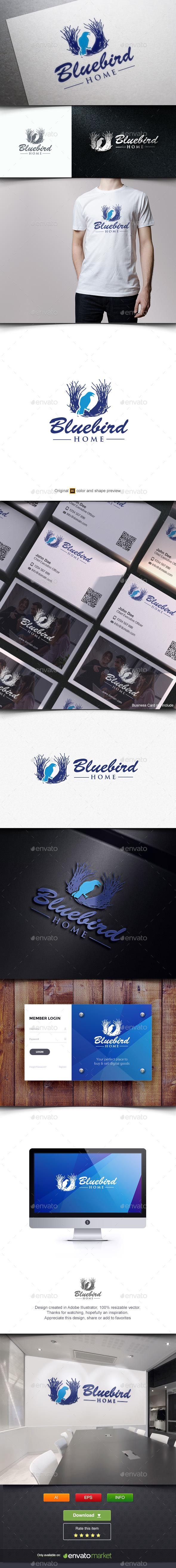 Nest and Blue Bird - Animals Logo Templates