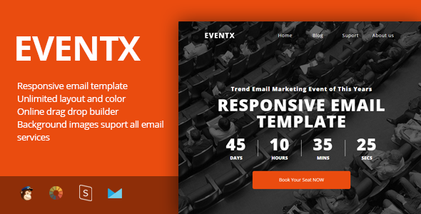 EventX - Event Confference Meetup Responsive Email Template + Stampready Builder - Newsletters Email Templates