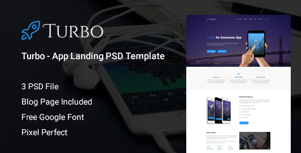 Turbo – App Landing PSD Template