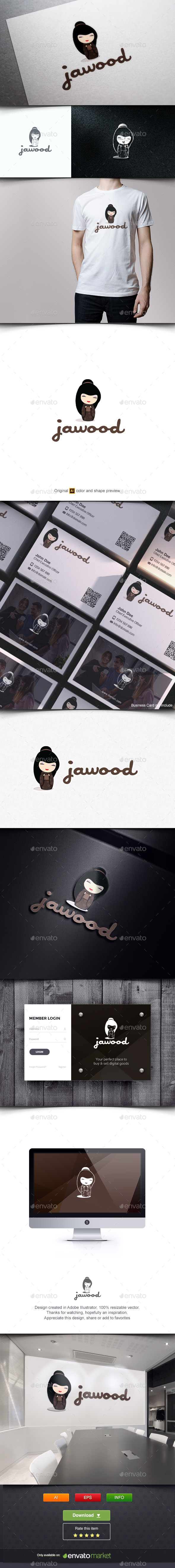 Japanese Doll Wood Crafts - Humans Logo Templates