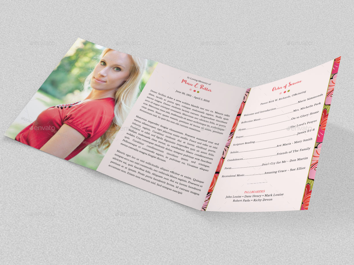 Hibiscus A5 Tri-Fold Funeral Program Template by Godserv2 | GraphicRiver