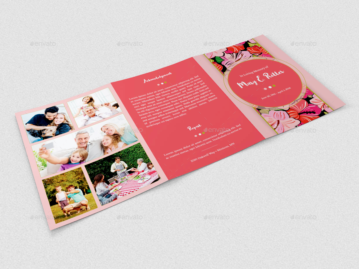 Hibiscus A5 Tri Fold Funeral Program Template By Godserv2 Graphicriver