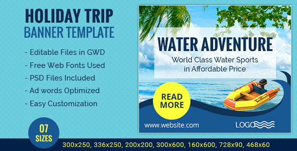 GWD | Holiday Travel HTML5 Banners - 07 Sizes - CodeCanyon Item for Sale