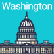 Line Flat Washington Banner - GraphicRiver Item for Sale