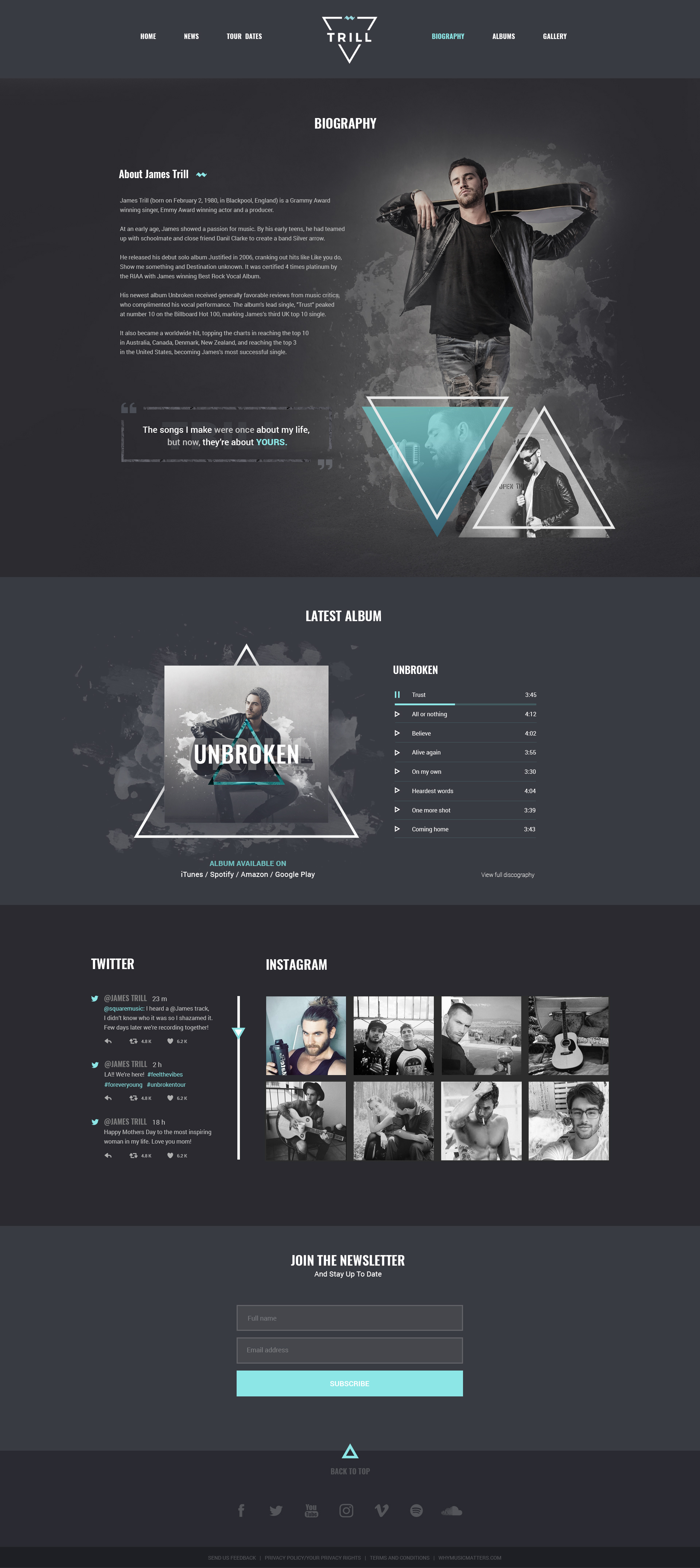 Trill - Modern PSD music template for bands & musicians by ...