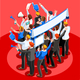 Election Infographic Pulpit Endorsement Vector Isometric People - GraphicRiver Item for Sale