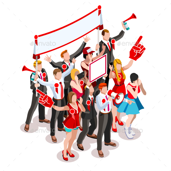 Election Infographic Crowd Rally Vector Isometric People - People Characters