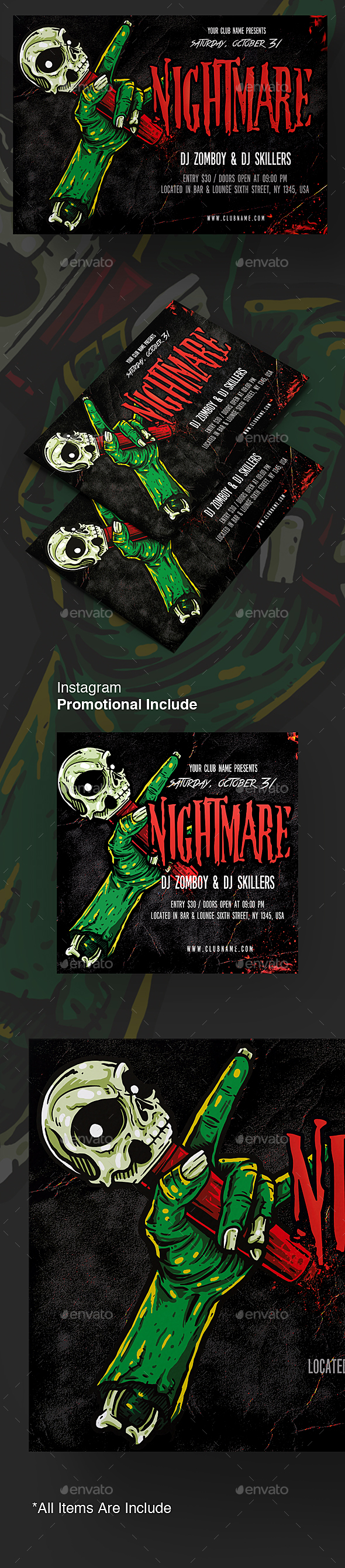 Nightmare Halloween Flyer Template - Holidays Events