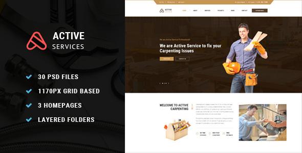 Active Service PSD Template - PSD Templates