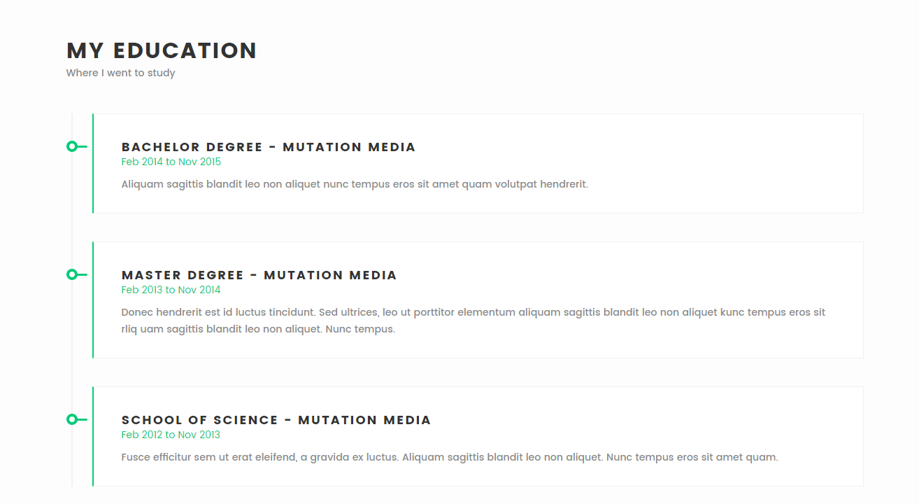 meraki one page resume html template by multidots themeforest