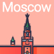 Line Flat Moscow Banner - GraphicRiver Item for Sale