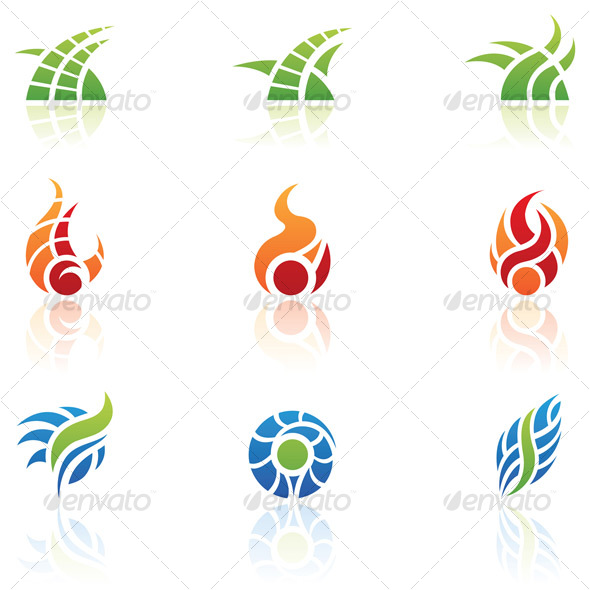 nature elements icons - Abstract Icons